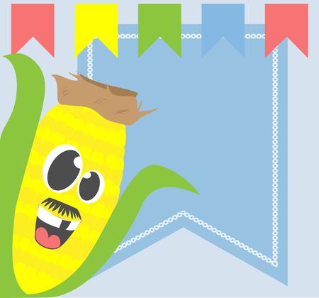 elote caricatura: Cara tonto de la historieta de maíz en el fondo con las banderas Bunting y espacio de la copia. Vectores