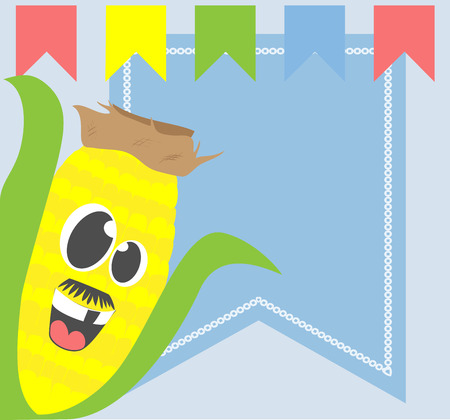 hillbilly: Silly face corn cartoon on background with bunting banners and copy space.
