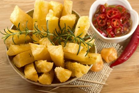 Brazilian snack fried cassava. Deep fried cassava root.
