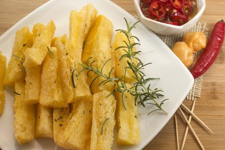 Brazilian snack fried cassava. Deep fried cassava root. Imagens