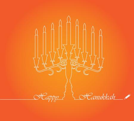 hannukah: Happy Hanukkah candles elegant vector design line.