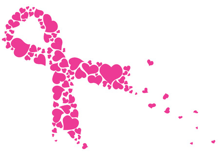 breast: Pink ribbon made of hearts vector. Breast cancer ribbon awareness. Illustration