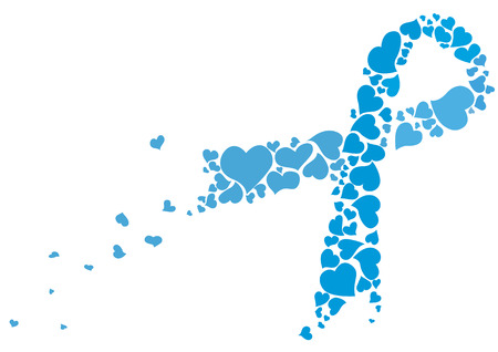Prostate cancer ribbon awareness. Blue november ribbon made of hearts vector.