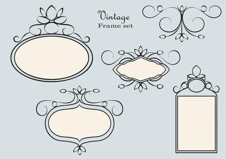 Antique frames set vector. Vintage style.
