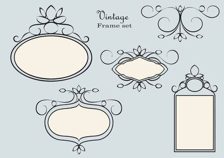 decorum: Antique frames set vector. Vintage style.