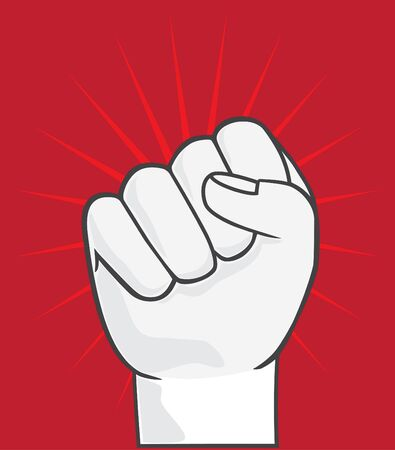 rebellion: Clenched fist held in protest. Symbol of rebellion vector. Hand illustration on red background. Illustration