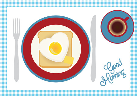 french toast: Breakfast with coffee, toast, egg and butter. Good morning vector.