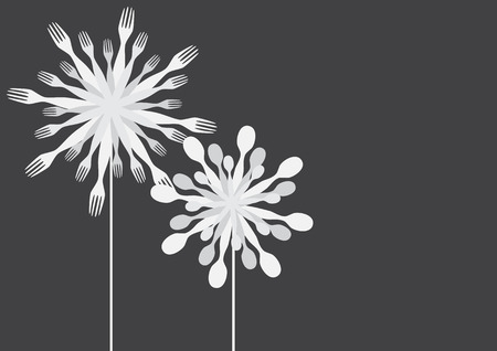 Dandelions made of forks and spoons vector.