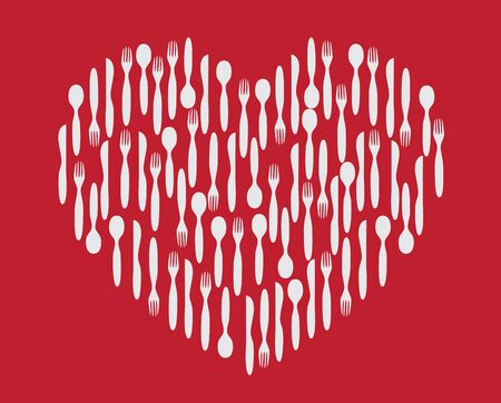silverware: Heart made of vector silverware Illustration