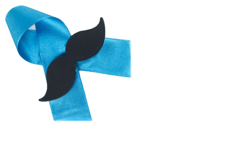 prostate cancer: Blue prostate cancer awareness ribbon with mustache