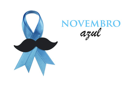 Prostate cancer awareness ribbon. Movember is blue november in portuguese language Imagens - 48316996