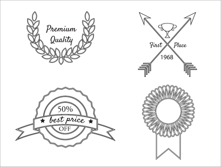 best quality: Premium quality, best price, first place badges vector set.