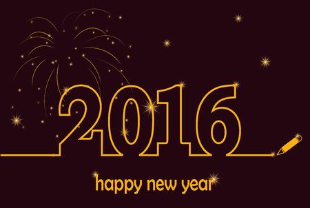 decorum: Happy New Year 2016 gold with fireworks and sparkles vector.