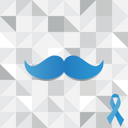 Blue mustache and blue prostate cancer awareness on poly background.