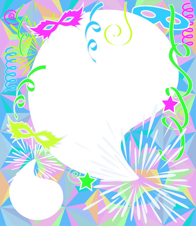 carnival border: Neon color party background. Carnival vector with copy space.