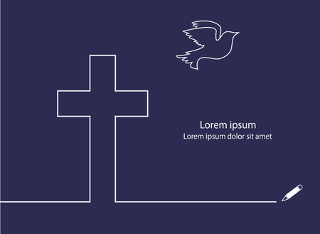 religious cross: Cross and Dove line drawing vector