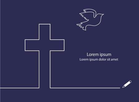 cruz religiosa: Cruz y la l�nea Dove dibujo vectorial