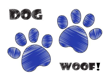 dog pen: Dog paw prints hand drawn pen ink vector.