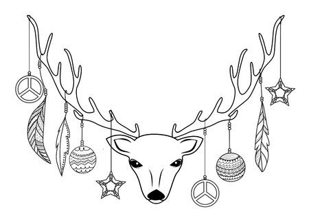 boho: Reindeer head with Christmas balls and feathers hanging on antlers. Hippie style drawings.