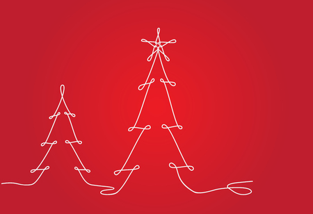 Christmas tree design line. Continuous line drawing vector. Stock Illustratie