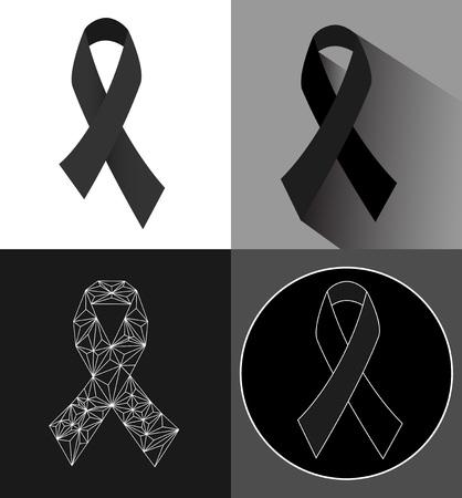 ruban noir: Sensibilisation Noir rubans icon set