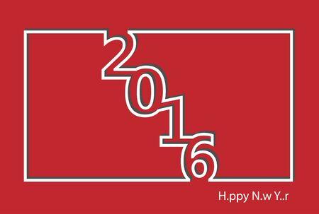 minimalist: Happy New Year 2016 modern minimalist line vector design.
