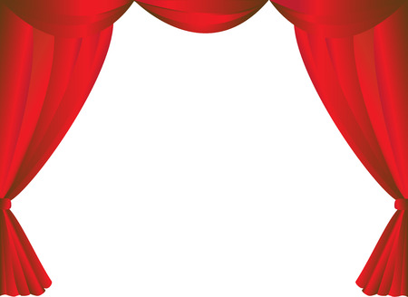 red theater curtain: Red curtains frame on white background vector.