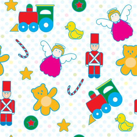 cute teddy bear: Children and baby toys seamless pattern  Illustration