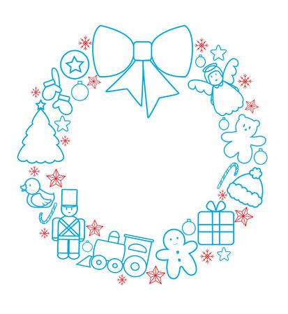 teddy wreath: Christmas toys garland line Illustration