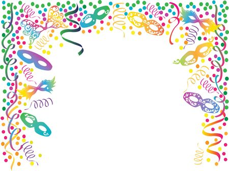 party mask: Carnival colorful frame with masks, ribbons and confetti .