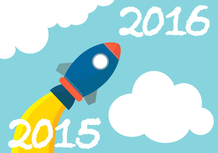 technology market: Flat Rocket going from 2015 to 2016 Illustration