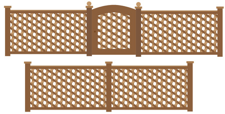 hollow: Wooden trellis lattice fence and gate . Illustration