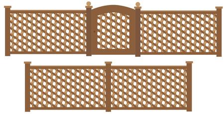 trellis: Wooden trellis lattice fence and gate . Illustration