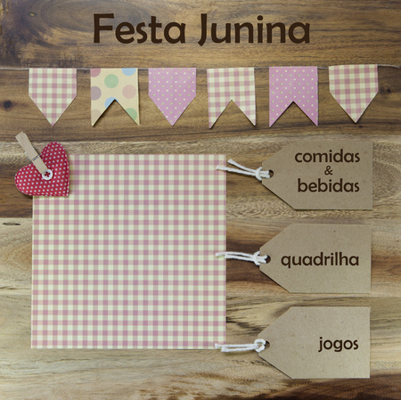 jerk: Festa Junina. June Party invitation in Portuguese language. Food and drinks, dance and games. Stock Photo