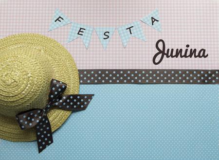 feast: June Feast cute background with hat and copy space.. Brazilian Festa Junina.
