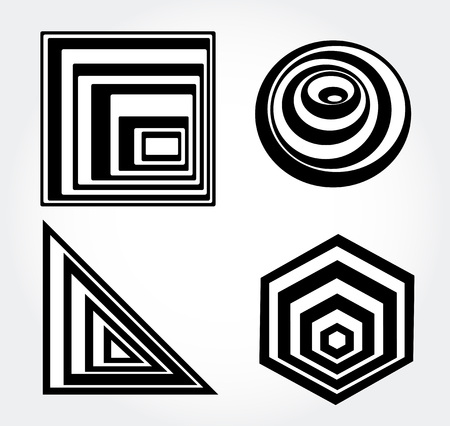 illusions: Optical illusion black and white opt art icons vector. Illustration