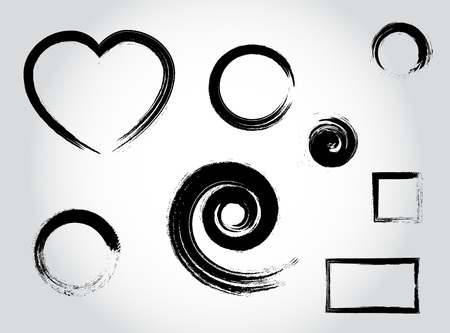 Ink calligraphy strokes. Heart shape, round, circle, spiral, square black set elements vector