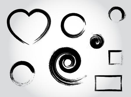 coups de calligraphie d'encre. En forme de coeur, rond, cercle, spirale, éléments de décor carré noir vecteur