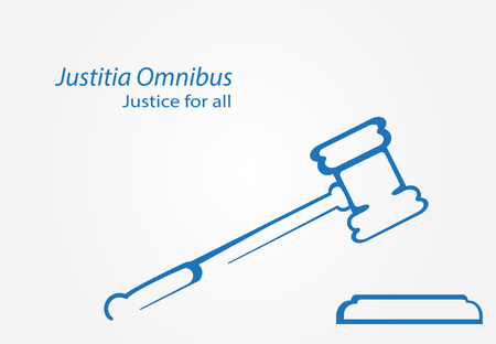 omnibus: Justitia Omnibus is Justice for all in Latin. Justice hammer icon vector. Stylized judge gavel.
