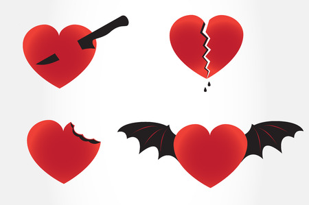 unfaithful: Broken devil and bitten stabed hearts. Heart vector set. Separation divorce concept. Betray. graphic icons elements Halloween.