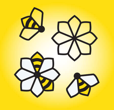 abeja: Las abejas y las flores gráfico elementos de diseño vectorial. abejorros modernas y limpias en las flores. Vectores