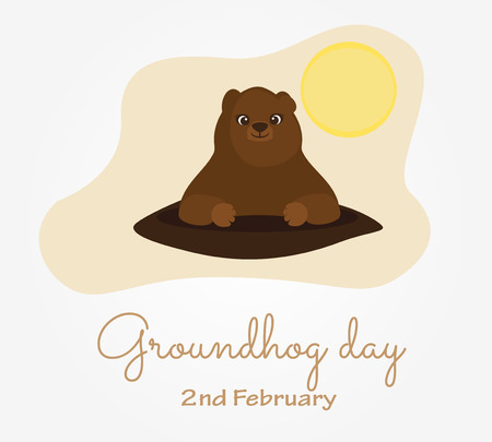 Groundhog day in USA. Traditional February 2nd celebration. Cute cartoon style vector illustration.