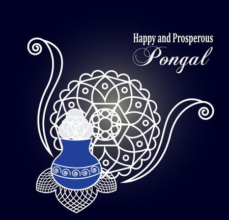 prosperous: Rangoli vector background. Happy and prosperous Pongal wishes. Elegant mandala and rice pot to celebrate harvest festival. Illustration