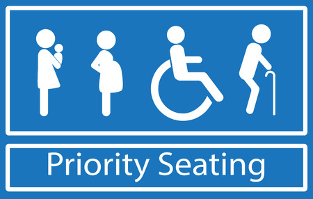Priority seating sign.  Disability, elderly, pregnant and woman with baby. Vector. Ilustração
