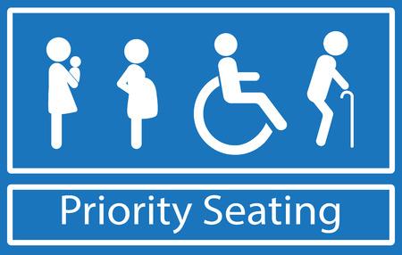 Priorytet znak siedzenia. Niepełnosprawności, osób starszych, kobiet w ciąży i kobiety z dzieckiem. Wektor.