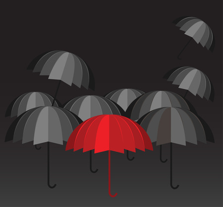 hard rain: Red umbrella and a crowd of black ones vector. Leadership in dark times concept. Be different.