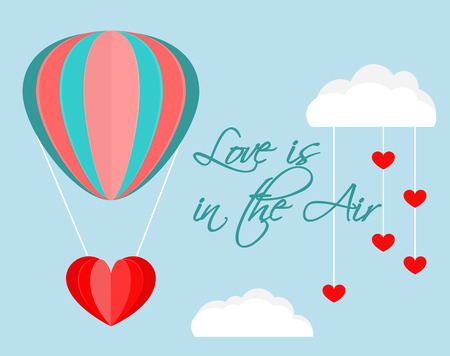 Paper cut out balloon and clouds vector. Love is in the air handwriting lettering. Romantic love background.