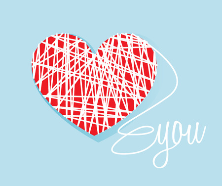 lovely couple: Valentines heart vector. Thread wrapped love you romantic illustration.