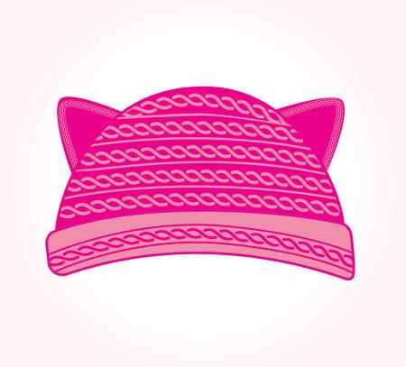 Roze gebreide muts met kattenoren. Pussy kat hoed vector. Leuke vrouwenhoed.