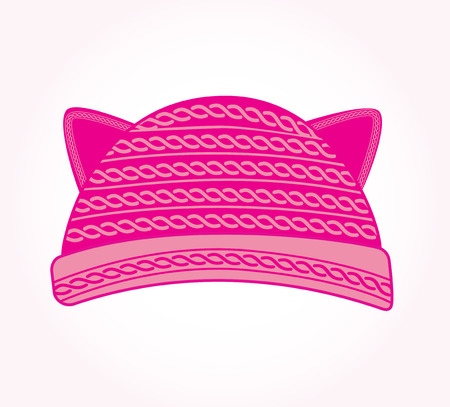 Pink knitted hat with cat ears. Pussy cat hat vector. Cute woman hat.